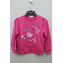 100% cotton knitted front hot drilling  GIRL`S JACKET pullover