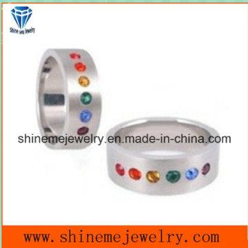 Anillo de joyería de acero inoxidable CZ anillo con colores de piedra