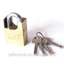 Europe Market Good Quality Golden Plated Shackle Half Protected Vane Key Padlock