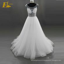 ED Bridal 2017 Elegant Stunning Crystal Cap Sleeve Lace-Up Back Beaded Organza Alibaba Wedding Dress