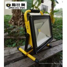 50W COB Super Bright LED Flood Light, luz de trabalho, recarregável, portátil ao ar livre, lâmpada de inundação / projeto, IP67