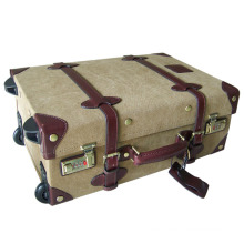 Guangzhou custom canvas and leather vintage luggage trolley case