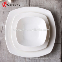 FDA / SGS одобренный дешевый белый microwavable квадратная форма белый квадратный фарфоровая пластина
