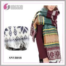 La borla caliente del copo de nieve del telar jacquar de alta calidad 2015 imita la bufanda de la cachemira