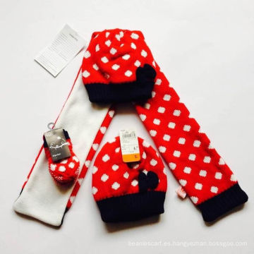 Jacquard al por mayor que hace punto el sombrero de la bufanda del patrón y el guante fijados