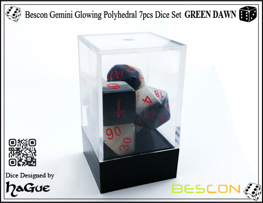 Bescon Gemini Glowing Polyhedral 7pcs Dice Set GREEN DAWN-4
