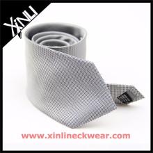 Grey White Pin Dots 100% Silk Necktie Stock Oferta