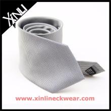Cinza Branco Pin Dots 100% Gravata De Seda Estoque Venda