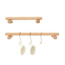 Étagère en bois avec porte-gobelet à crochets en métal