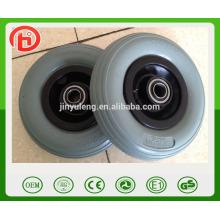 not flat 200 50 pu foam wheel plastic rim ,green pu wheel line pattern