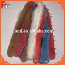 Las tiras de piel de zorro teñida de alta calidad real recortar de piel