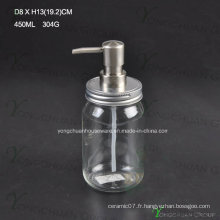 Bouteille liquide de bain de verre économique avec pulvérisateur de pompe