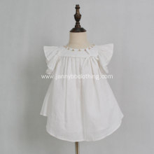 White embroidered collar cotton linen baby girls dresses