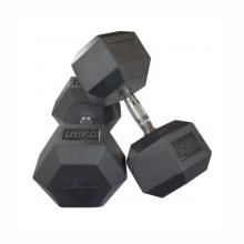 Hexagonal Manufacturer Coated Full Black Gym Weight 25 lb Pounds Dumbells Set Rubber Hex Dumbbell