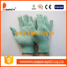 Green Polyester Knitted Gloves with White PVC Dots One Side Dkp139