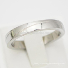 Grabado 2 líneas simples de plata anillos de compromiso baratos para las mujeres