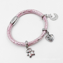 Real Stingray Skin Leather bracelet with Custom Made Charms