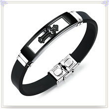 Fashion Jewelry Stainless Steel Jewelry Silicone Bracelet (LB586)