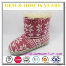New style snowflake knitted plush lining baby winter indoor baby boots