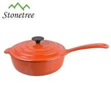 Purple enamel cast iron casserole pot with handle