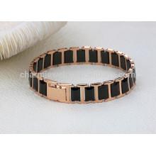 2015 nouveau bijoux à la mode bijoux en or plaqué or noir bracelet en céramique en titane WS441