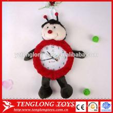 China factory plush clock cover plush animal clock cover ladybird shaped plush cover