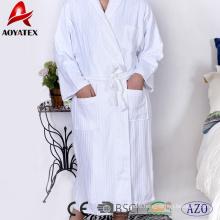 100% cotton jacquard stripe shawl collar white bathrobe