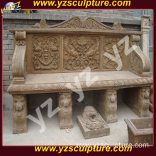 Outdoor Antique Stone Garden Bench With Back