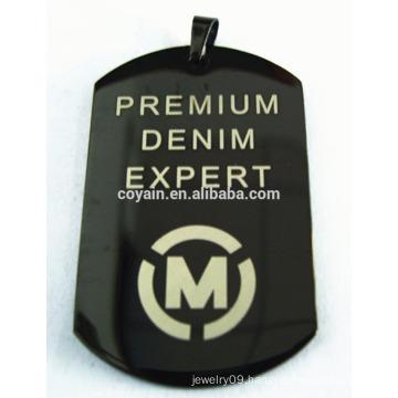 Black plated tag black plated steel pendant engravable