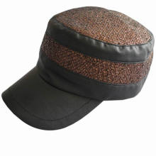 Fashion Design Girl′s Army Cap with Leather Brim