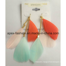 Feather Earrings with Metal Tassel Fashion Jewelry