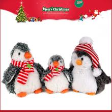 Juguete suave modificado para requisitos particulares del pingüino de la felpa del juguete de la Navidad 20cm 2016 navideños con el sombrero y la bufanda