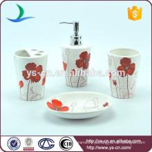 Venda Por Atacado vermelho flor design cerâmica banheiro acessórios decoração