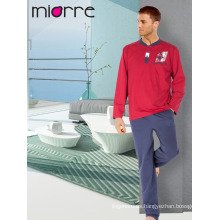 Miorre Hombres pijama de algodón de manga larga pijama Set
