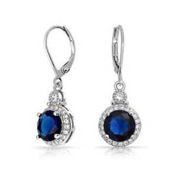 Blue Round CZ 925 Silver Dangle Earring Jewellery