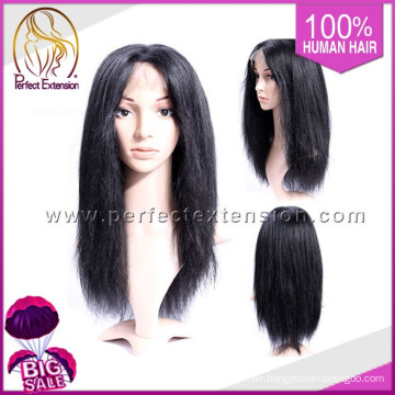 Stock High Ponytail Italy Yaki Human Hair Full Lace Wigs In Stock