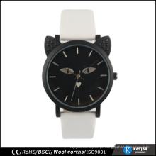 Relógio de promoção relógio de aço inoxidável quartzo relógio de gato preto