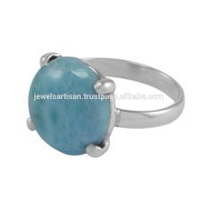 Bijuteria linda Larimar Gemstone 925 Sterling Silver Ring