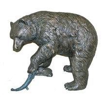 Bronze Bär mit Fisch Statue BVLA-024R