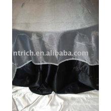 Черная атласная ткань скатерти, отель Скатерть, круглый стол обложке, органза Наложение таблицы
