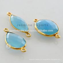 Venda Por Atacado Gold Vermeil Blue Calcedonia Gemstone Bezel Setting Connectors Jóias Fornecedores