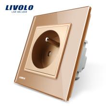 Французская настенная розетка Livolo, стандартная для ЕС, с золотой панелью из хрусталя, AC220 ~ 250В, розетка 16А, VL-C7C1FR-13