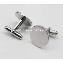 316L aço inoxidável brilhante liso prata redondo abotoaduras para homens