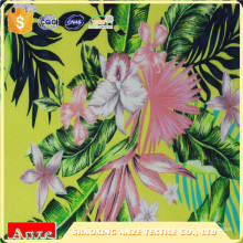 Natural printed spun rayon viscose floral printed fabric