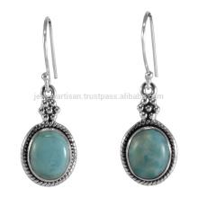 Beautiful Larimar Gemstone 925 Sterling Silver Drop Earrings Atacado Jóias
