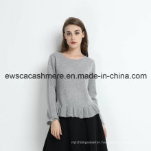 Fair Maiden Solid Color Pure Cashmere Knitwear with Falbala