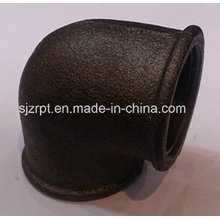 """1-1 / 2 """"Malleable Iron Pipe Fittings Beaded cotovelo preto sem costelas"""