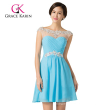 Wholesale Sweetheart Light Blue Beadings Chiffon Cap Sleeve Cocktail Dress CL7536-1