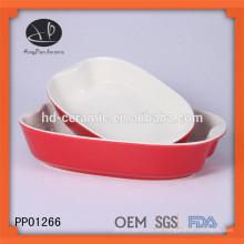 Rot glasierte keramische bakeware Platte, keramisches Backblech mit Farbe