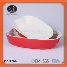 Plaque de cuisson en céramique glacée rouge, cuisinière en céramique avec couleur